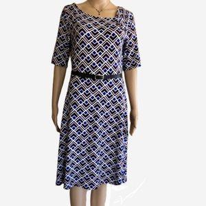 Ann Taylor fit & flare dress in blue geometric